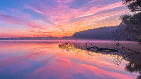 Sonnenuntergang im Müritz-Nationalpark, Mecklenburgische Seenplatte